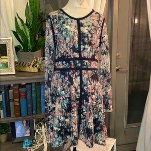 Floral Lace black colorful longsleeve zip dress XL